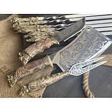 Шампура Трофей в расписном кейсе из бука.Шампура +нож+вилка +секач, фото 2