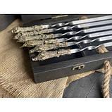 Шампура Трофей в расписном кейсе из бука.Шампура +нож+вилка +секач, фото 3