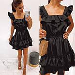 Короткое платье летнее без рукавов приталенное с рюшами на груди и оборками юбке (р. 42-52) 73032755, фото 2