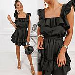 Короткое платье летнее без рукавов приталенное с рюшами на груди и оборками юбке (р. 42-52) 73032755, фото 5