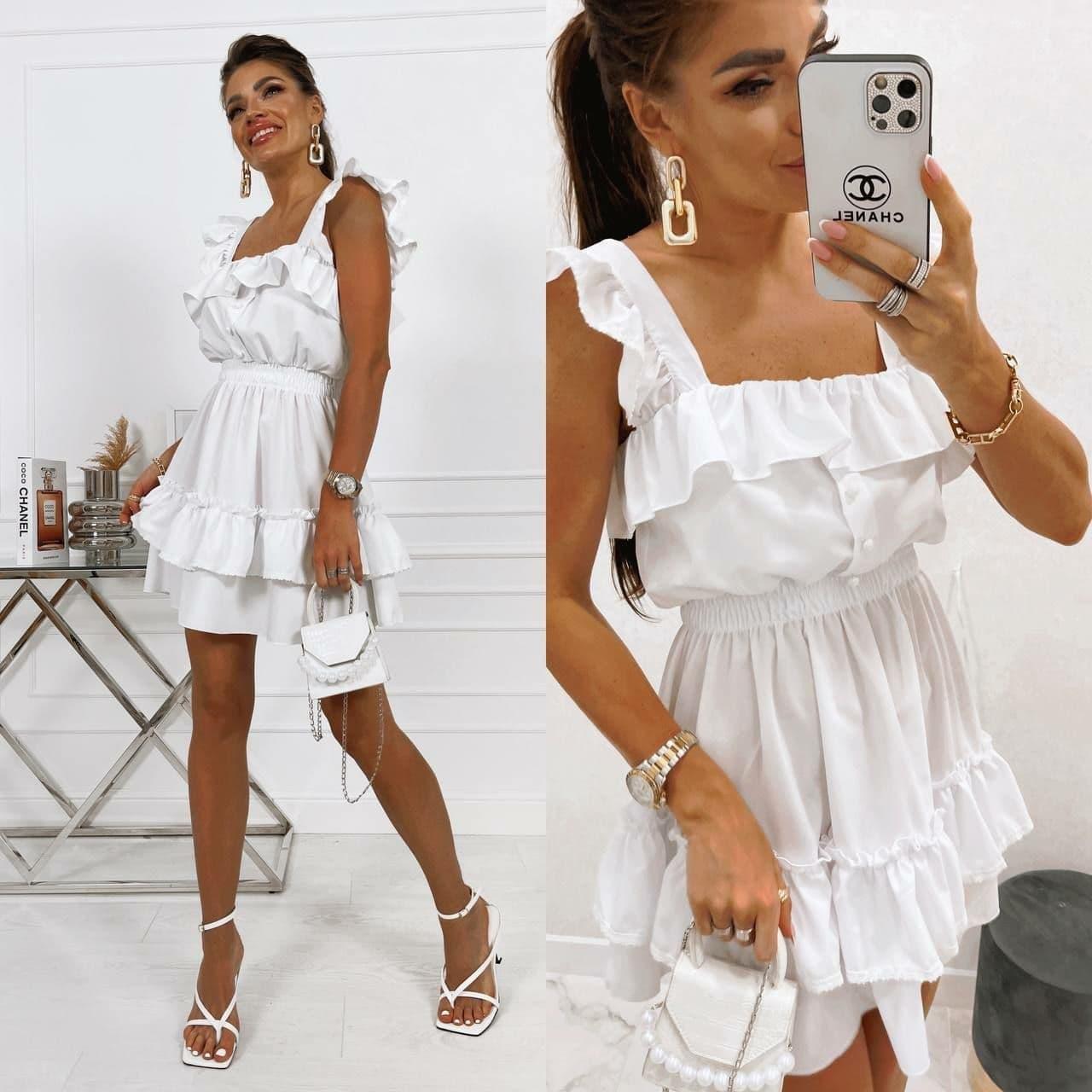 Короткое платье летнее без рукавов приталенное с рюшами на груди и оборками юбке (р. 42-52) 73032755