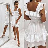 Короткое платье летнее без рукавов приталенное с рюшами на груди и оборками юбке (р. 42-52) 73032755, фото 4