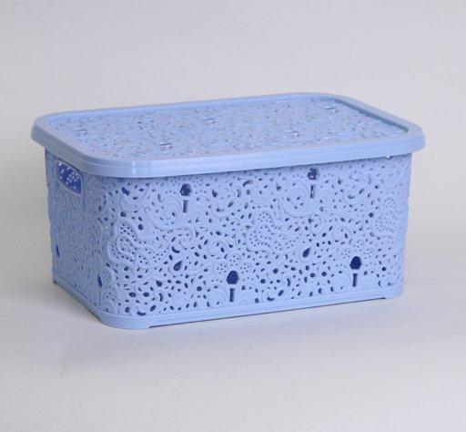 Корзина для хранения Elif Plastik Ажур 21х29х12.5 см голубая