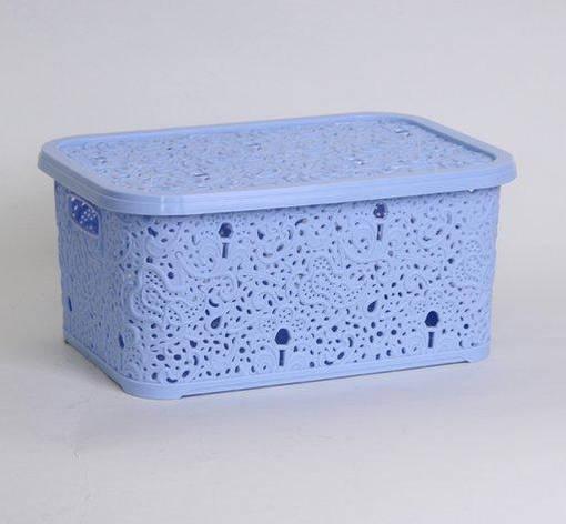 Корзина для хранения Elif Plastik Ажур 21х29х12.5 см голубая, фото 2