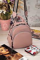 Рожевий жіночий шкіряний рюкзак на два відділення 77210.
