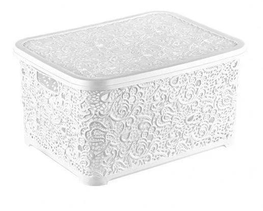 Корзина для хранения Elif Plastik Ажур 44х23х33 см белая, фото 2
