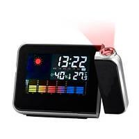 Метеостанция с проекцией часов Color Screen Calendar 8190 Черные, домашняя метеостанция  (TI)
