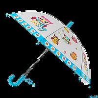 Детский зонтик Сова трость полуавтомат со свистком