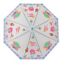 Детский зонтик Русалочка трость полуавтомат со свистком