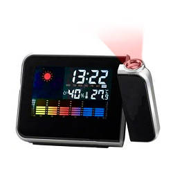 Метеостанция с проекцией часов Color Screen Calendar 8190 Черные, домашняя метеостанция  (GK)