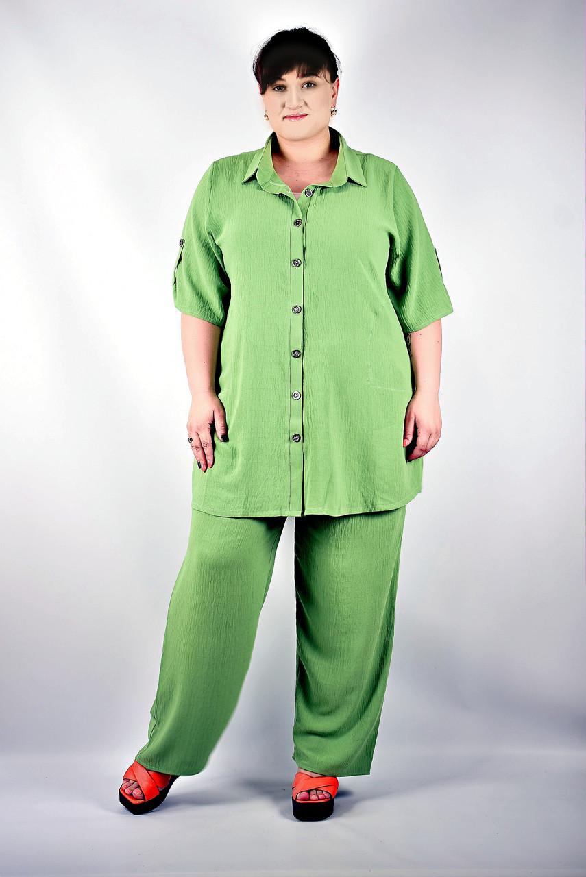 Жіночий брючний костюм великі розміри від 52 до 72