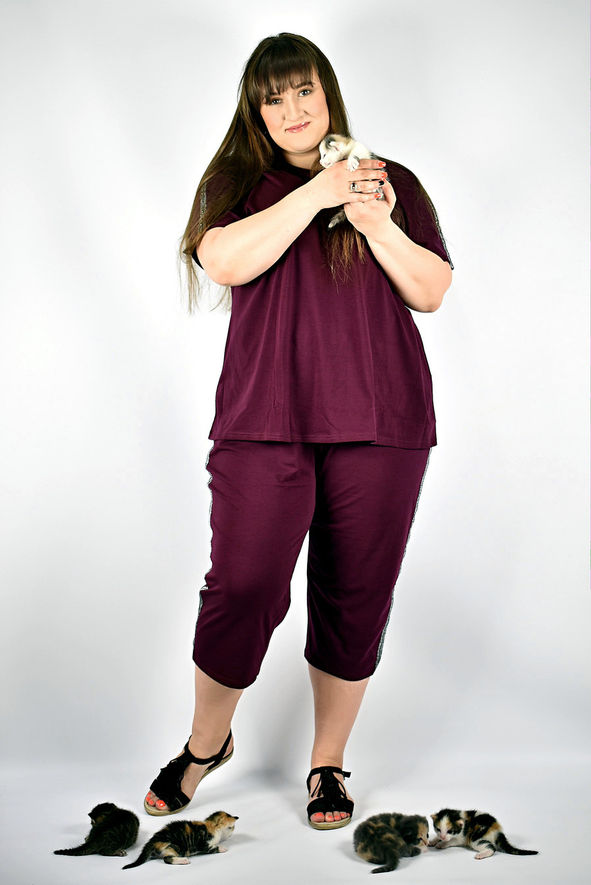 Летний женский брючный костюм большие размеры от 52  до 66