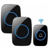 Беспроводной дверной звонок, водонепроницаемый DoorBell, 1 звонок+2 базы