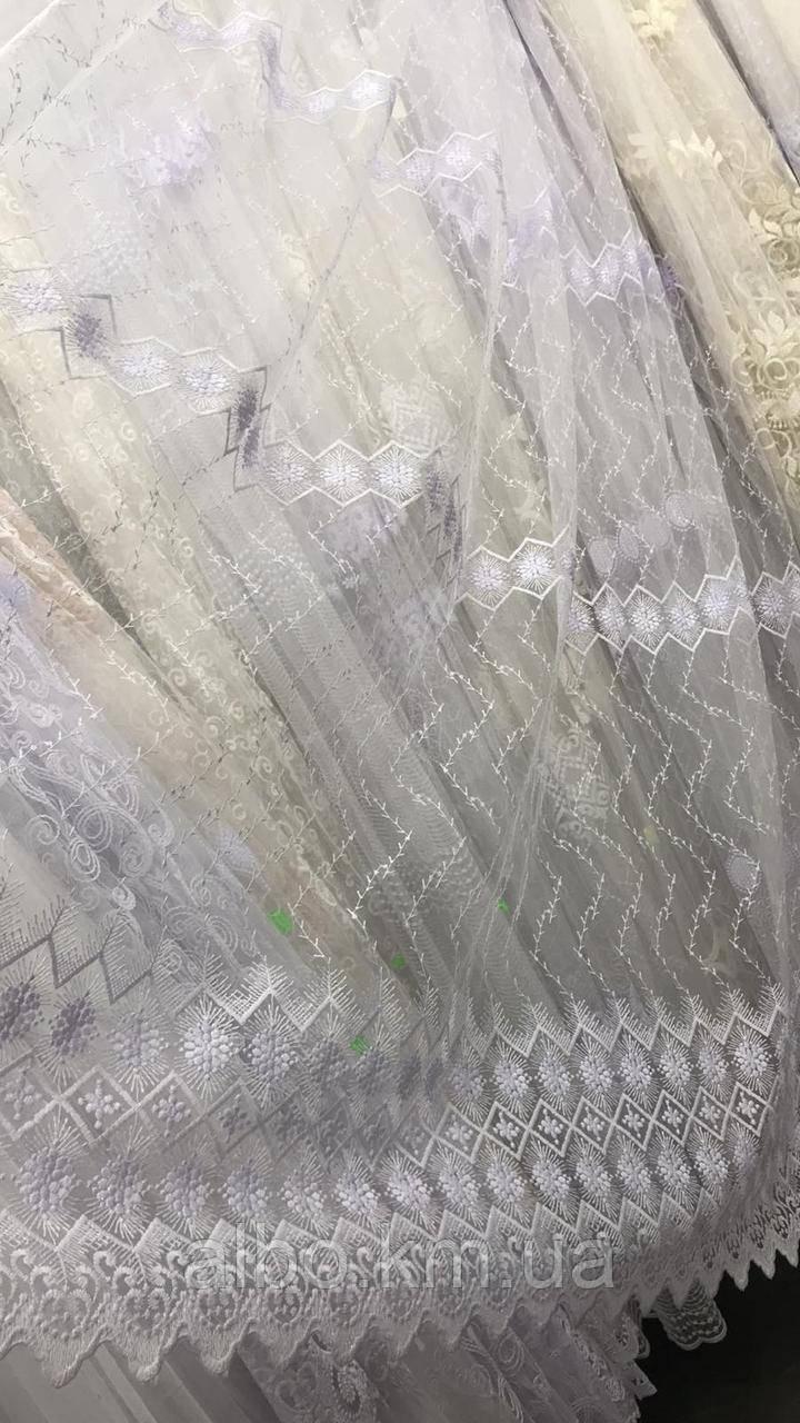 Білий тюль на метраж з фатіну, висота 2,8м (13564)