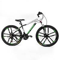 Спортивный велосипед 26 дюймов (литые диски, 21 скорость, сборка 75%) Corso Spider 32873 Бело-зеленый