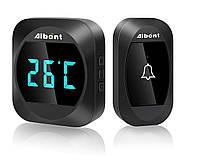 Беспроводной дверной звонок с функцией температуры Aibont Black, 1 звонок+1 база