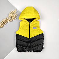 Теплые жилетки с капюшоном на синтепоне оптом  желто-черные  92-110 (4шт)