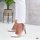 Туфлі - човники жіночі білі пітон еко-шкіра + силікон на підборах 8,5 см, фото 2