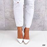 Туфлі - човники жіночі білі пітон еко-шкіра + силікон на підборах 8,5 см, фото 4