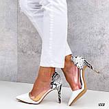 Туфлі - човники жіночі білі пітон еко-шкіра + силікон на підборах 8,5 см, фото 5