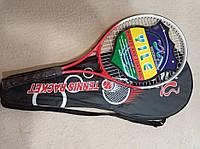 Алюминиевая теннисная ракетка для большого тенниса в чехле для детей и взрослых Красная