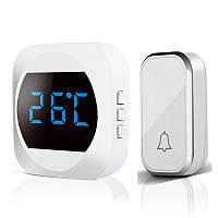 Беспроводной дверной звонок с функцией температуры Aibont White, 1 звонок+1 база
