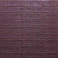 Самоклеюча 3D панель під цеглу кольору баклажан-кава 700х770х5мм (18-5)
