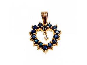 Золотой кулон с камнями  Сапфир и бриллиантом