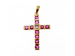 Золотой Крестик с Рубинами и Бриллиантом  14К (585 проба)