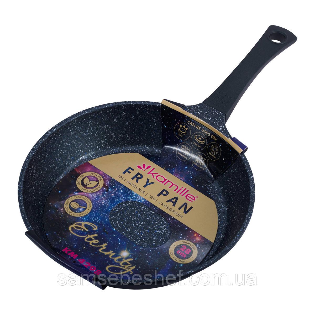 Сковорода Kamille ETERNITY Черный 28см из литого алюминия с антипригарным покрытием KM-4298