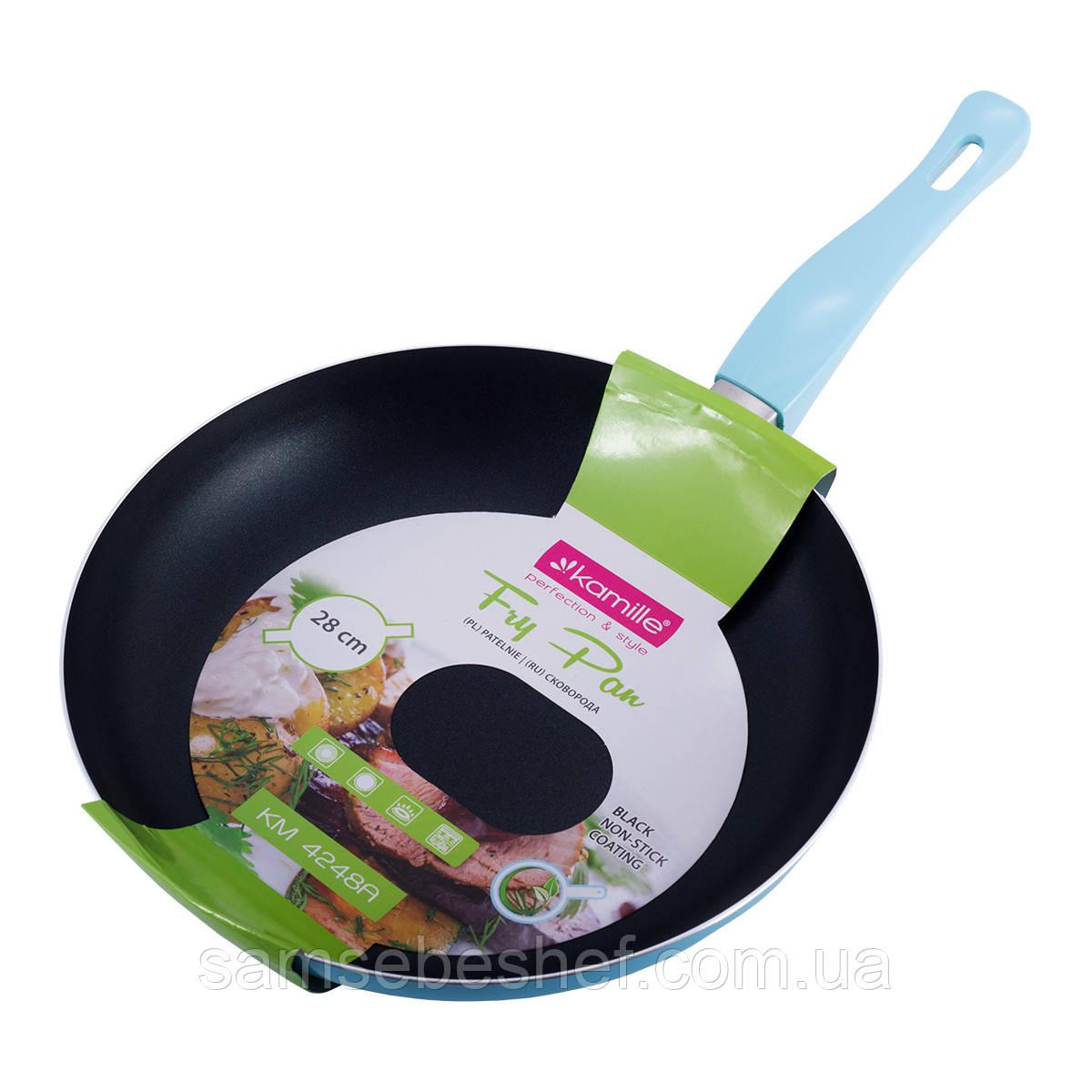 Сковорода Kamille Голубой 28см с антипригарным покрытием без крышки для индукции и газа KM-4248A