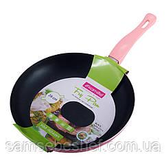 Сковорода Kamille Розорвый 28см з антипригарним покриттям без кришки для індукції і газу KM-4248AR