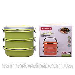 Ланч бокс потрійний Kamille Зелений 2700мл для обідів з плстика і нержавіючої сталі KM-2110ZL