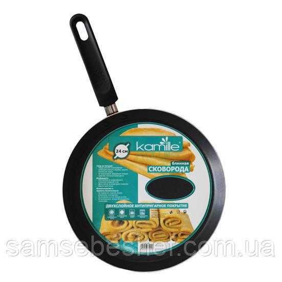 Сковорода блинная Kamille 26см с антипригарным покрытием KM-0606