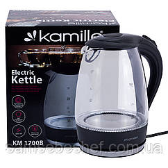 Чайник электрический Kamille 1.7л с синей LED подсветкой KM-1700B