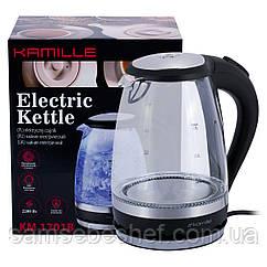 Чайник электрический Kamille 1.5л с синей LED подсветкой и стальными декоративными вставками KM-1701B
