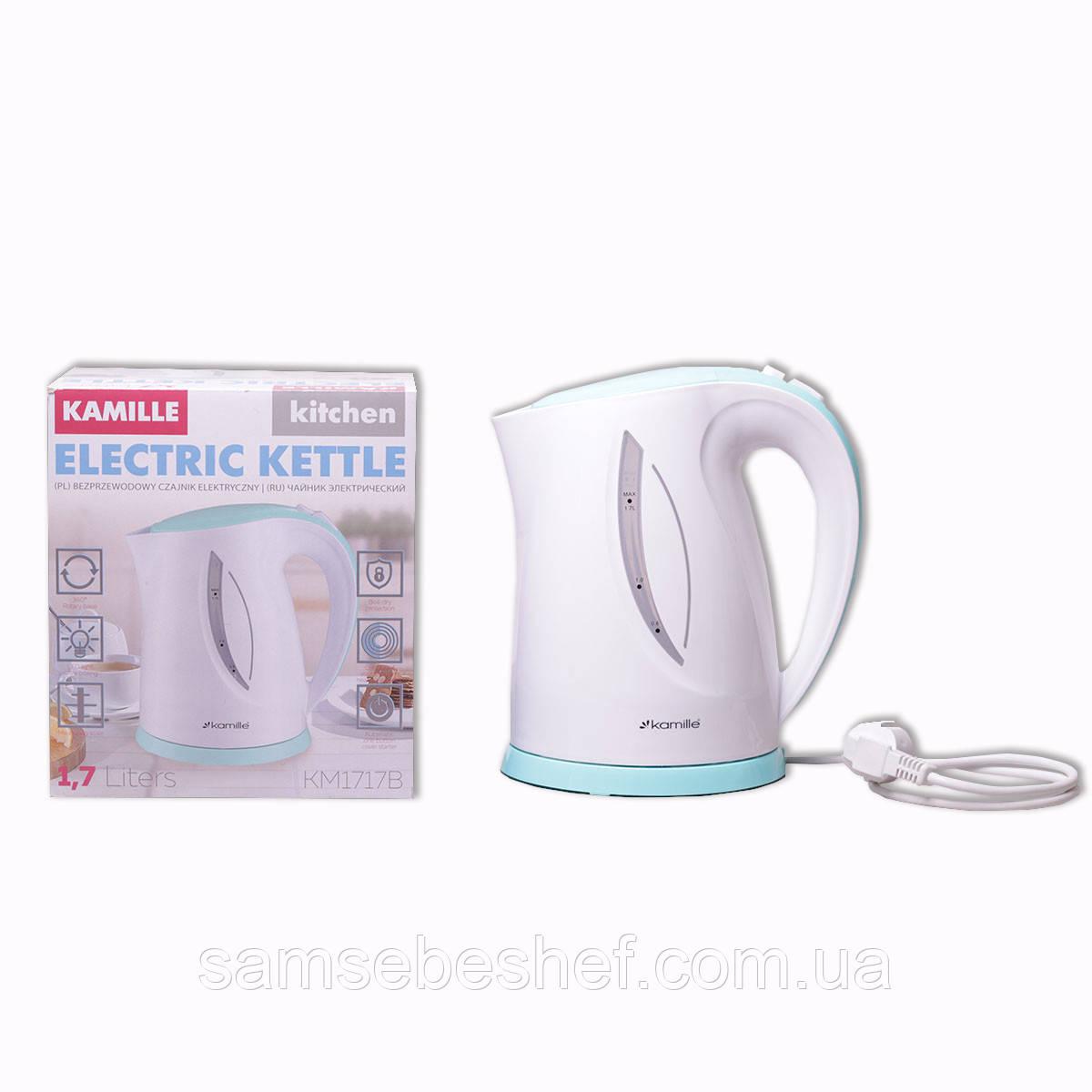 Чайник електричний Kamille 1.7 л пластиковий (білий з бірюзовим)