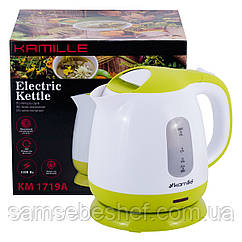 Чайник электрический Kamille 1л пластиковый (белый с салатовым) KM-1719A