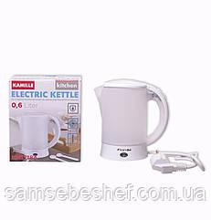 Чайник электрический Kamille 0.6л пластиковый (белый/матовый c чашками и ложками) KM-1718A