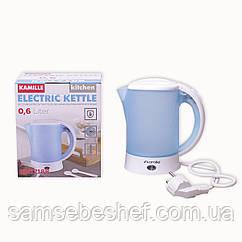 Чайник электрический Kamille 0.6л пластиковый (белый/голубой c чашками и ложками) KM-1718B