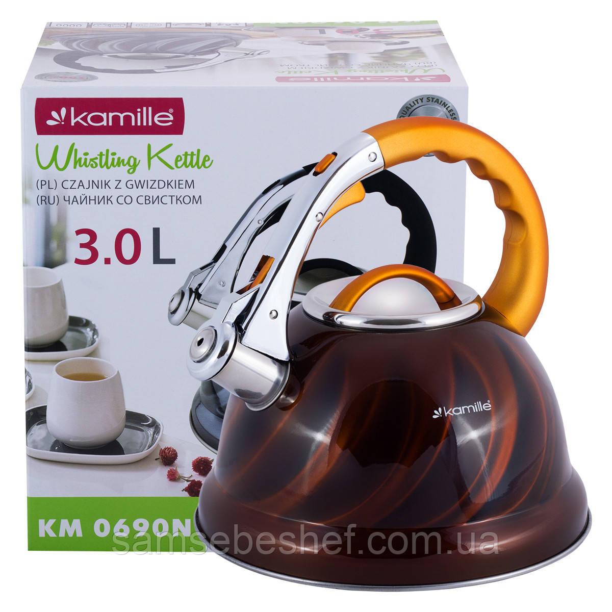 Чайник Kamille 3л з нержавіючої сталі зі свистком
