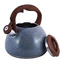 Чайник 2.8 л з нержавіючої сталі зі свистком і бакелітовою ручкою для індукції, фото 9