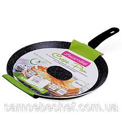 """Сковорода млинна Kamille 30см з алюмінію з мармуровим покриттям і ручкою """"soft-touch"""" (індукція)"""