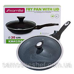 Сковорода Kamille 30см з антипригарним покриттям із алюмінію з кришкою для індукції і газу KM-4104
