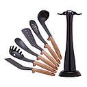 Набор кухонных принадлежностей Kamille с подставкой 7 предметов нейлоновые с ручкой под дерево, фото 5