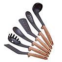 Набор кухонных принадлежностей Kamille с подставкой 7 предметов нейлоновые с ручкой под дерево, фото 6
