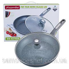 Сковорода Kamille 30см з гранітним покриттям і кришкою для індукції і газу KM-4274GR