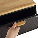 Хлібниця Ofenbach Чорний 35,5х21,5х19,5см з нержавіючої сталі/бамбук KM-100805, фото 3