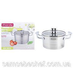 Кастрюля с крышкой Kamille 3,1л из нержавеющей стали для приготовления пищи для индукции и газа KM-5855