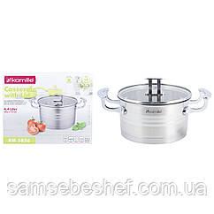 Кастрюля с крышкой Kamille 4,4л из нержавеющей стали для приготовления пищи для индукции и газа KM-5856